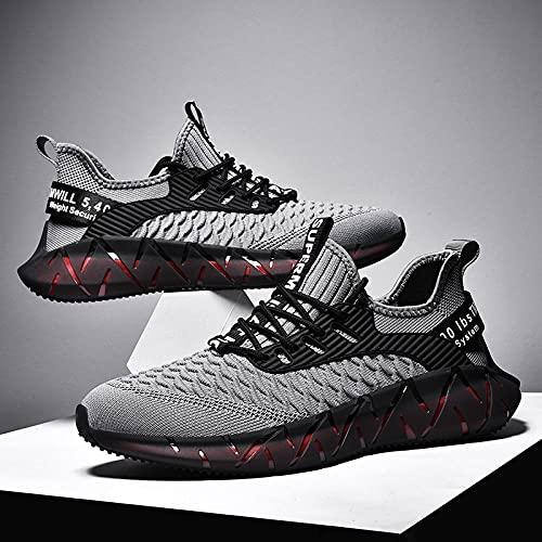 Aerlan Gym Shoes Lightweight Shoes,Calzado de Hombre Calzado Deportivo Senderismo, Zapatillas Deportivas Ligeras de Malla Transpirable-Gris_45,Botas de montaña Deportivas