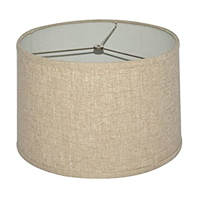 """Tootoo Star Brown Lamp Shade Large Drum Lampshade for Chandeliers Floor Light and Table Lamp 13x14x9"""",Fabric Natural Linen Hand Crafted,Spider"""