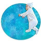 Alfombra redonda para niños redonda alfombra circular alfombra redonda alfombra lavable a máquina, textura azul turquesa acuarela púrpura