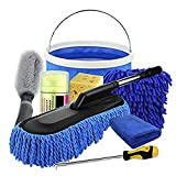 Leaer - Juego de 9 herramientas de limpieza de microfibra para lavado de coche, limpieza en exteriores, limpieza interior, lavado y secado para coche, moto