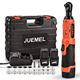 16.8V Cordless Ratchet Wrench Kit, JUEMEL Electric Ratchet Wrench 3/8' 46 N·m 400 RPM With 2-Pack 2.0Ah Li-Ion Batteries, Fast Charger, 7 Sockets, 2 Screwdrivers and 1/4' Adapter