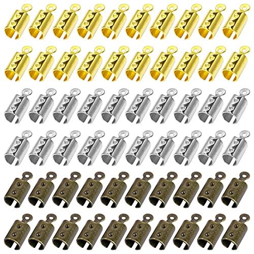 300PCS FOLD OVER ENDS CORD END CAPS 팁 크림프 코드 엔드 가죽 리본 클램프 클래스프 코드 엔드를 보석 제작 NECKLACE CORD DIY CRAFT(3색)