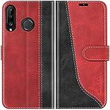 Mulbess Handyhülle für Huawei P30 Lite Hülle Leder, Huawei P30 Lite Handy Hülle, Modisch Flip Handytasche Schutzhülle für Huawei P30 Lite New Edition Case, Wine Rot