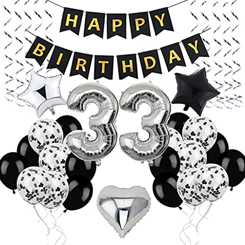 Décoration d'anniversaire 33 ans - Pour homme et femme - Décoration d'anniversaire 33 ans - 33 ballons noirs et argentés - Décoration de fête d'anniversaire 33 ans