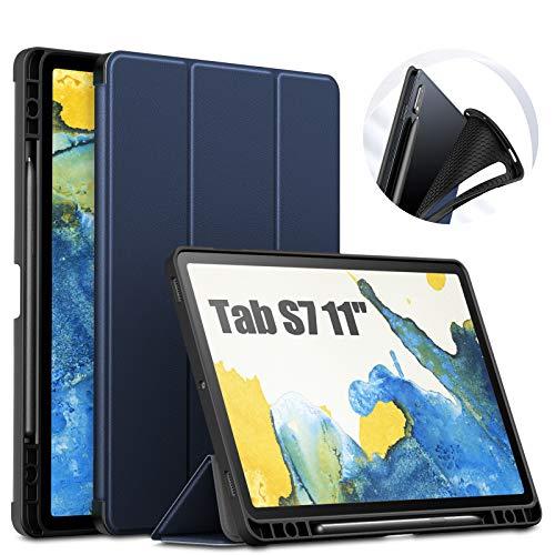 INFILAND Hülle für Samsung Galaxy Tab S7 11 (T870/T875) 2020, TPU Schutzhülle Hülle Taseche mit S Pen Halter, Auto Schlaf/Wach, Dunkleblau
