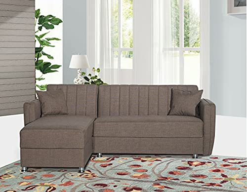 Divano letto contenitore in tessuto con penisola modello Mersin corner 230x170 cm (Marrone)