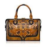 APHISON Designer Hand Bags Unique Embossed Floral Women's Leather Handbags (BROWN)