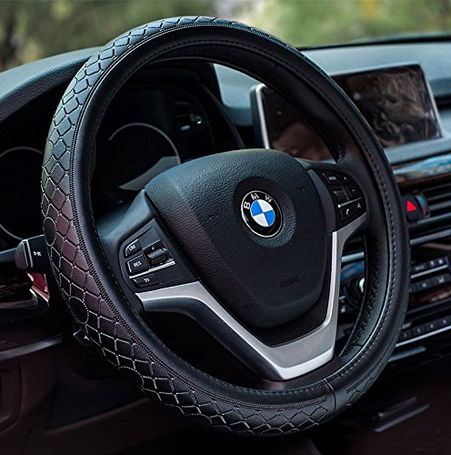 Genuine Leather Black 15 YOPRIA Premium Vehicle Steering Wheel Cover Quality Comfy Car Steering Wheel Protector Universal Diameter 38cm
