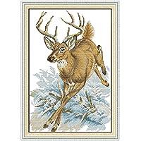 クロスステッチ刺繍キット 図柄印刷 初心者 ホームの装飾 風景 刺繍糸 針 ホームの装飾 - 動物鹿37×52cm(フレームレス)