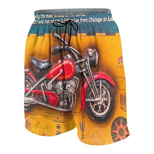 JOSENI Hombres Personalizado Trajes de Baño,Roma, Italia Una Imagen volumétrica con una Motocicleta y los Nombres de la Ruta,Casual Ropa de Playa Pantalones Cortos