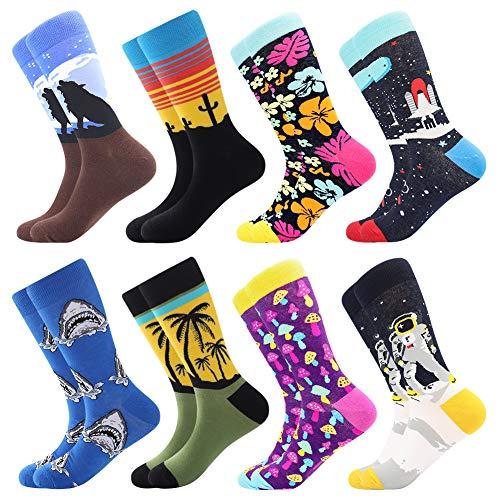 BISOUSOX Calcetines Estampados Hombre,Hombres Ocasionales Calcetines Divertidos Impresos de Algodón de Pintura Famosa de Arte Calcetines,Calcetines de Colores de moda (39-46, 8 Pairs-tropical2)