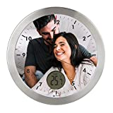 "Gran Reloj de Pared Carcasa de Aluminio Cepillado Personalizado con Imagen o Logo (Esfera I) · Mecanismo Silencioso ""Sweep"" · Reloj Cocina Pared con Termometro · Incluye Caja de regalo Individual"