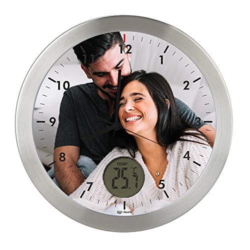 Gran Reloj de Pared Carcasa de Aluminio Cepillado Personalizado con Imagen o Logo (Esfera I) · Mecanismo Silencioso ?Sweep? · Reloj Cocina Pared con Termometro · Incluye Caja de regalo Individual
