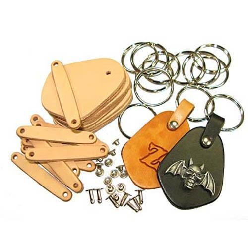 Key Fob Kit 10 Pack - Vegetable Tanned Tooling Leather with Key Ring and Rivet