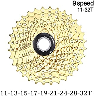 KDKDA MTB Cassette Full Gold 9s 11-32T Mountain Bike Bicycle Parts Speed Freewheel Golden Cassette Riding Equipment Accessories