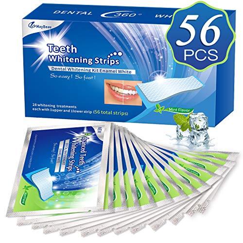 White Stripes 3D Zahnaufhellung mit 56 Streifen gegen Gelbe Zähne Rauchflecken Schwarze Zähne Bleaching Stripes, von MayBeau
