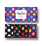 Happy Socks Gift Boxes for Men, Women | Colorful, Fun, Unique, Themed Patterns | Premium Cotton Sock in 2 sizes 9-11, 10-13 (Dot, 4 Pack)