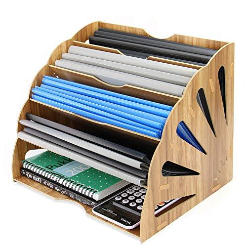 Holz Briefablage | Office Schreibtisch Organiser | 5 Teiler | Brief- und Postlagerung | Zeitschriften- & Dokumentenständer | Pukkr