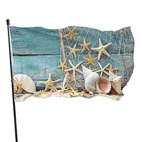 Viplili Banderas Outdoor Beach,Seashells Starfish Sand Garden Flag, Yard Flag - 3 X 5 Ft