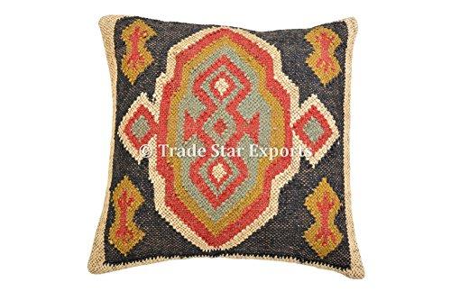 Trade Star Exports Kilim tissé à la main Housse de coussin indienne 18 x 18 cm Taie d'oreiller décorative, couvre-lit bohème, coussins d'extérieur en jute, taies d'oreiller bohème