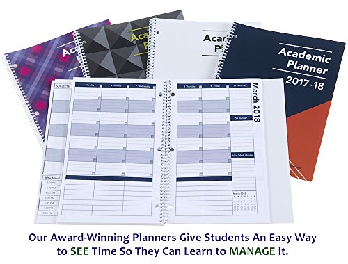 2017-2018 Academic Planner, A Tool For Time Management, Best Weekly & Monthly Student Planner For Keeping Students On Track, On Task, On Time, Size 8.5 x 11, WHITE, FAMILY CHOICE AWARD WINNER