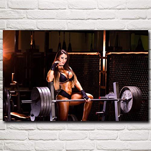 VVSUN Músculos Levantamiento de Pesas Barbell Mujeres Modelo de Fitness Pinturas murales Arte Seda Carteles e Impresiones Gimnasio Decoración Moderna Imágenes 60X90cm 24x36 Pulgadas Sin Marco