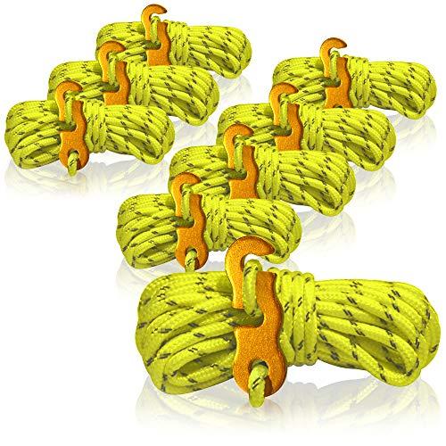 com-four Cuerda de sujeción 8X para Acampar Reflectante en Amarillo - Cable de Tienda Luminoso - Cable de tensión - Cable de Camping - Tensor - Cable de Tienda - Cinta de tormenta