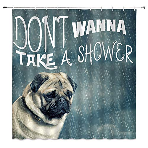 BST Funny Dog Shower Curtain Pug Pet Lovers Cute Puppy Animal Vintage Poster Tan Green Bathroom Curtains Decor Polyester Fabric Quick Drying Include Hooks