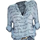 Wtouhe Femmes Manche Longue Chemise imprimée en Lettre Chemisier en Coton lâche T-Shirt Haut à Manches Longues et à col en V -...