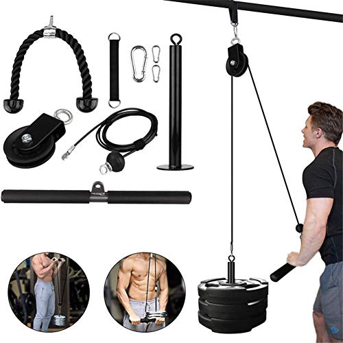 Pulley Cable System Machine, Fitness Pulley Cable Machine Professionelle Muskelkraft Fitnessgeräte Unterarm Handgelenk Rollentraining DIY Fitnessgeräte für Unterarm Muskelkrafttraining