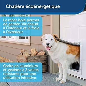 PetSafe, Chatière pour animaux en aluminium pour les conditions météorologiques extrêmes, Système de rabat isolé de 3 volets plastiques écoénergétiques, 1 volet de fermeture, robuste – Large