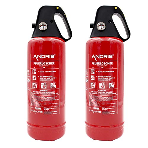 2X ANDRIS® Feuerlöscher ABC Pulver 2kg, für Auto/LKW, mit KFZ-Drahthalter, handliche Griffhaube mit integrierter Löschdüse, EN3, inkl. ANDRIS® Prüfnachweis mit Jahresmarke & ISO-Symbolschild
