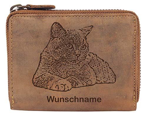 Greenburry Damen Geldbörse Braun 13x10x3cm mit Britisch Kurzhaar Katzen Motiv + Wunschnamen