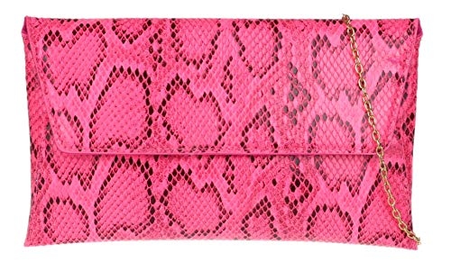 Girly Handbags de piel de serpiente del bolso de embrague del sobre (Neón fucsia)