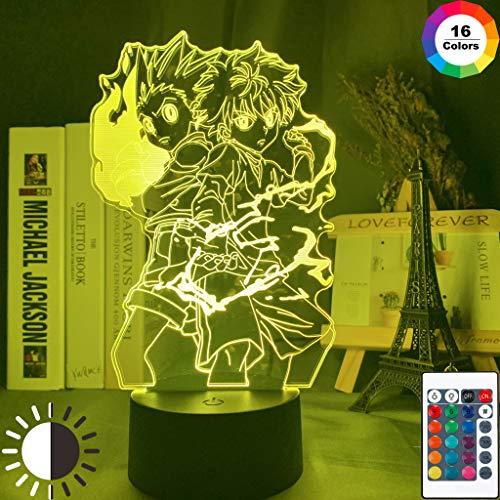 Gon y Killua Figura 3d Night Light Anime Hunter X Hunter Nightlight para Kid Dormitorio Decoración Iluminación Niño Regalo HxH Lámpara Mesita de noche