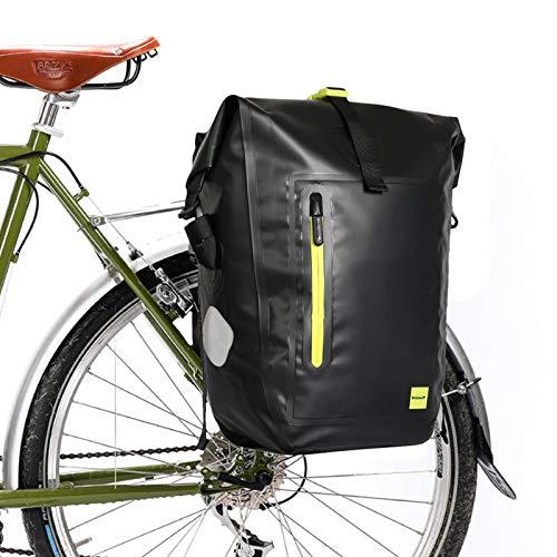 G-raphy Gepäckträgertasche Wasserdicht 25L Fahrradtasche Gepäckträger Hinterradtasche mit Schultergurt (Schwarz-02)