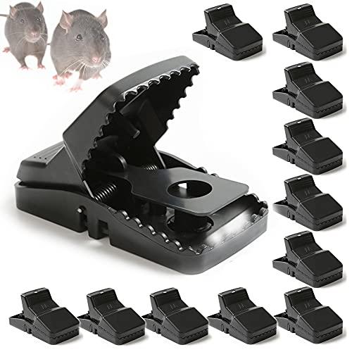 HIMAPETTR 12 PCS Trampa Ratones, Seguro Trampas para Ratas, Reutilizable, Alta Sensibilidad, Fácil de Usar, Potente, para Interiores y Exteriores