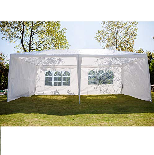 AutoBaBa 3M x 6M Gazebo Tent Marquee Canopy Powder Coated Steel Frame for Outdoor Wedding Garden Party Camping, with 4 Side Panels, Waterproof, White