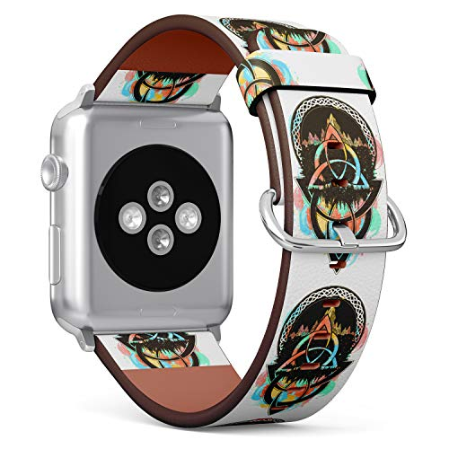 S-Type iWatch Leather Strap Printing Replacement Wristbands Compatible with Apple Watch 4/3/2/1 Sport Series (38mm) - Celtic Symbol with Mountain and Forest Design