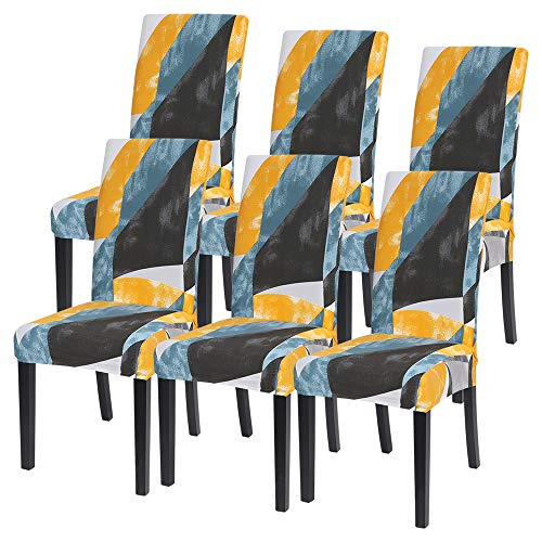 IVYSHION Fundas para sillas Fundas de Silla de Comedor Elásticas Respaldo Alto Forros de Sillas de Comedor Universal Paquete de 4/6 Piezas