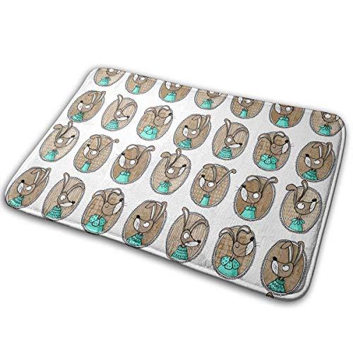 """BLSYP Felpudo Mint Bunnies Doormat Anti-Slip House Garden Gate Carpet Door Mat Floor Pads 15.8"""" X 23.6"""""""