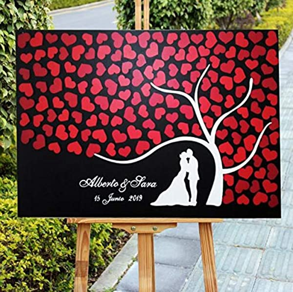 ChristBess Personalized Wedding Guest Book Alternative 3D Rustic Wedding Guestbook Sign Bride Groom Silhouette Red Wedding Theme Decor Gift