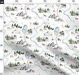 Landkarte, Wasserfarben, Hirsch, Fuchs, Autoreise, Zelten