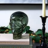 LampLust Glass Skull Statue, 7 Inch - Translucent Gray, Durable Heavy Glass, Realistic Replica Human Skeleton Head, for Halloween Decorations, Gothic Home Decor or Creepy Shelf Display