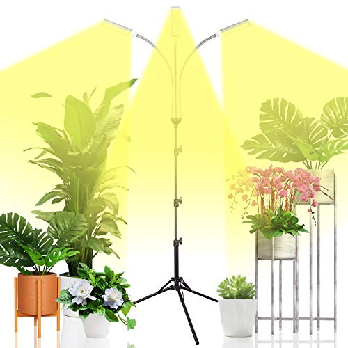 Emiral Plant Grow Light for Indoor Plants, Full Spectrum Led Grow Light with Stand, Three-Heads Floor Grow Lamp, Tripod Stand Adjustable 15-47 in,3/6/12H Timer & 3 Modes