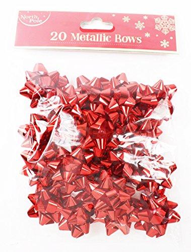 Lot de 20 mini nœuds rouges en aluminium pour emballage de cadeaux de Noël + pois gratuits