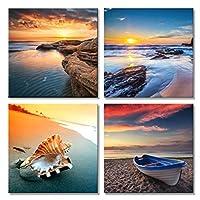 キャンバス絵画壁アート写真4パネルモダンモジュラー写真プリントビーチ海景絵画海ボートサンセットフレームなし
