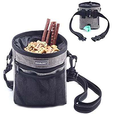 VIVAGLORY Dog Treat Pouch, Hands Free Puppy Training Bag with Adjustable Waistband, Reflective Shoulder Strap and Dog Waste Bag Dispenser for Training, Walks and Outings, Gray