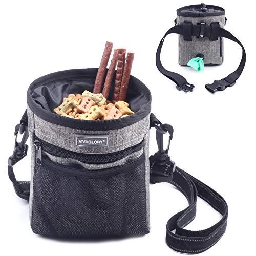 Futterbeutel für Hunde, Futtertasche für Leckerli für das Hundetraining, mit Kotbeutelspender, Reflektierender Gurt und verstellbarem Gürtel, für Training, Spaziergänge und Ausflüge, Heather Gray