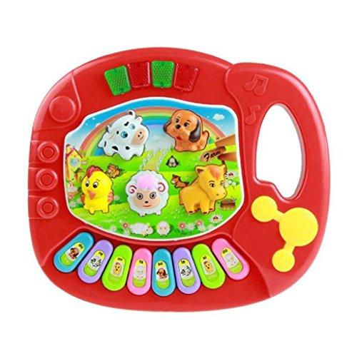 Vovotrade Bébé Enfants Jouet de Musique Piano Éducation Musicale Création Developpement Animal de Ferme (Rouge)